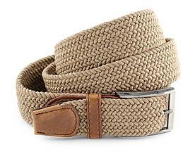 Гарний текстильний чоловічий ремінь світло-коричневого кольору з білою ниткою і хромованою пряжкою Alon 00376
