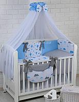 """Комплект детской постели в кроватку """"Воздушные шары голубого цвета"""" № 269"""