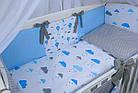 """Комплект детской постели в кроватку """"Воздушные шары голубого цвета"""" № 269, фото 4"""