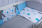 """Комплект детской постели в кроватку """"Воздушные шары голубого цвета"""" № 269, фото 6"""