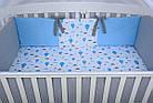 """Комплект детской постели в кроватку """"Воздушные шары голубого цвета"""" № 269, фото 7"""