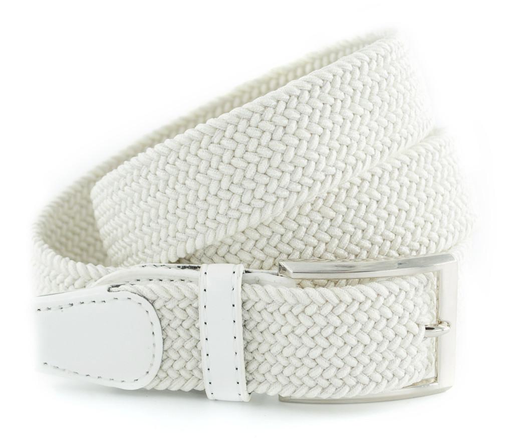 Красивый текстильный мужской ремень белого цвета с хромированой пряжкой Alon (Алон) 00378