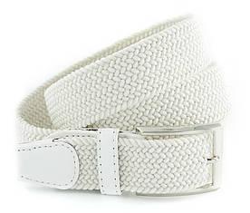 Гарний текстильний чоловічий ремінь білого кольору з хромовані пряжкою Alon (Алон) 00378