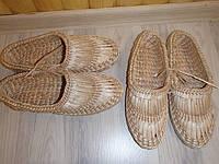 Домашние тапочки, плетеные из соломы
