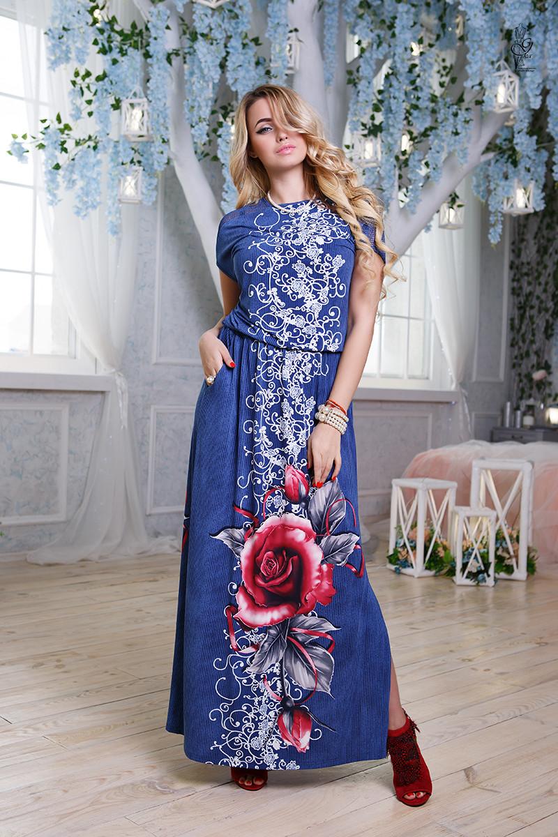 Летнее длинное батальное платье Ирма-4 46-56