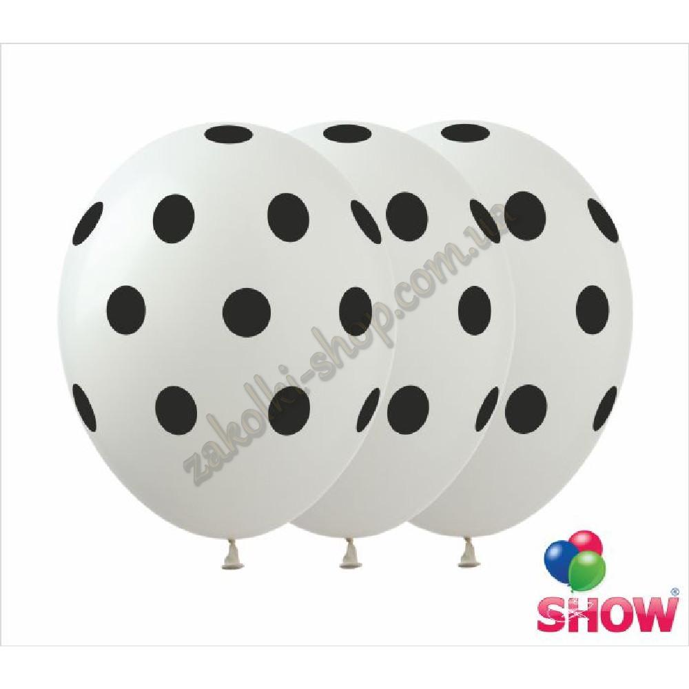 """Латексные воздушные шары с рисунком """"Горох на белом"""", диаметр 12 дюймов (30 см.), печать шелкография 5 сторон,"""
