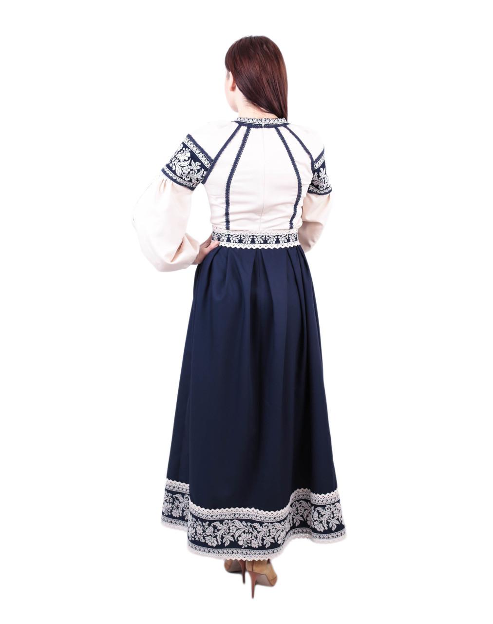 Вишите котонове синьо-бежеве довге плаття з машинною вишивкою ... 4e3d54a28ee78