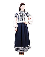 Вишите котонове синьо-бежеве довге плаття з машинною вишивкою, фото 1