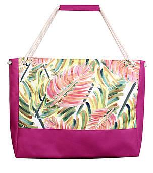 Пляжная сумка листья пальмы арт малина