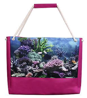 Сумка для пляжа Кораллы малина