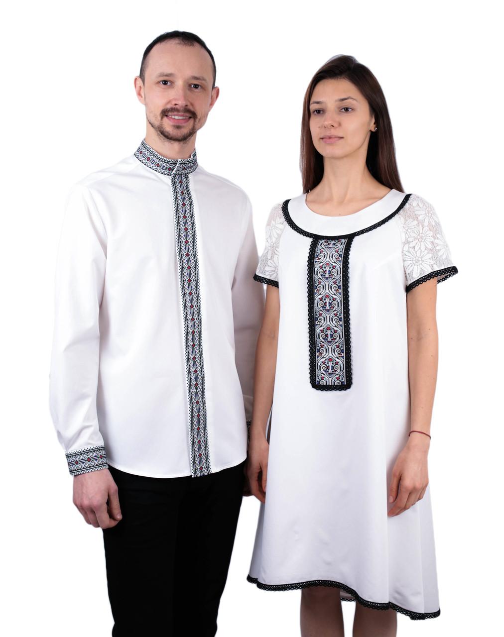 Оригінальна пара вишиванок білого кольору машинної роботи