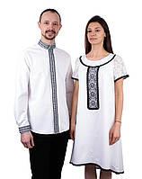Оригінальна пара вишиванок білого кольору машинної роботи, фото 1