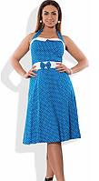 Голубое женское платье-сарафан на лето размеры от XL ПБ-366