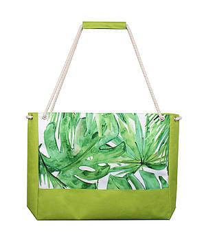Сумка для пляжа Листья пальмы зеленая