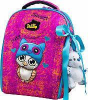 Портфель Delune 7mini-010 с пеналом школьный для девочек рюкзак для сменной обуви, мишка 28 х 16 х 36см