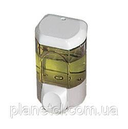 Дозатор мыла жидкого пластик прозрачный белый 0,35л Acqualba - Планета чистоты в Киеве