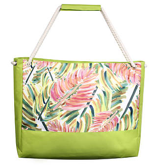Пляжная сумка Листья пальмы арт зеленая