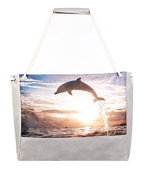 Сумка для пляжа Дельфин серая