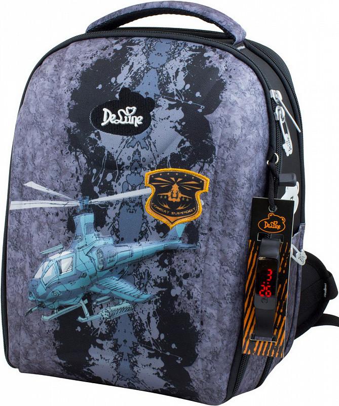 e3788f5cf140 Рюкзак Delune 7mini-012 школьный для мальчиков с пеналом сумка для сменной  обуви, часы 28 х 16 х 36см