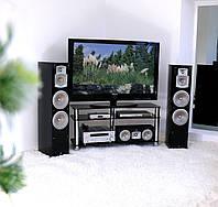 """Тумба ТВ скляна на хромованих ніжках Maxi ЕХХ 1116 """"чорний"""" скло, хром, фото 1"""