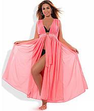 Пляжная туника макси ярко-розовая размеры от XL Д-101