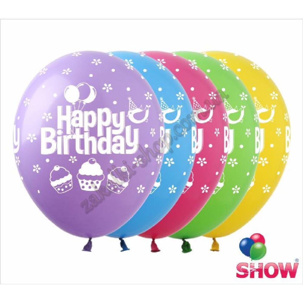 """Латексные воздушные шары с рисунком """"Happy Birthday кексики"""", диаметр 12 дюмов (30 см.), печать шелкография"""