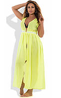 Пляжная туника макси цвета желтый неон размеры от XL Д-102