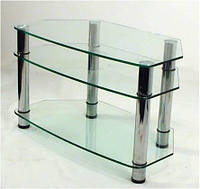 """Тумба ТВ Maxi DX 900 """"прозрачный"""" стекло, хром, фото 1"""