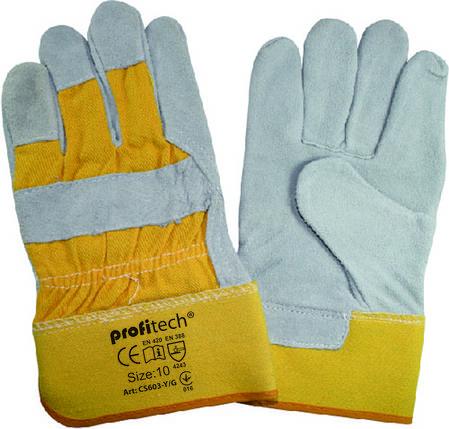 Перчатки защитные Profitech х/б + спилок с цельным наладонником, фото 2