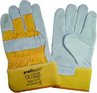 Перчатки защитные Profitech х/б + спилок с цельным наладонником