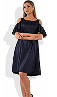 Платье женское мини темно-синее с открытыми плечами размеры от XL ПБ-367