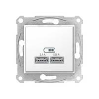 USB розетка SDN2710221 для зарядки 2,1А белая Sedna Schneider