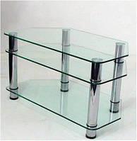 """Тумба ТВ Maxi R 900 """"прозрачный"""" стекло, хром, фото 1"""