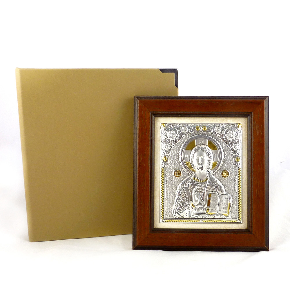 Икона Иисус Христос в деревянной рамке в шкатулке