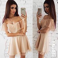 Платье нежное красивое с сеткой в горошек разные цвета 6Smb2327