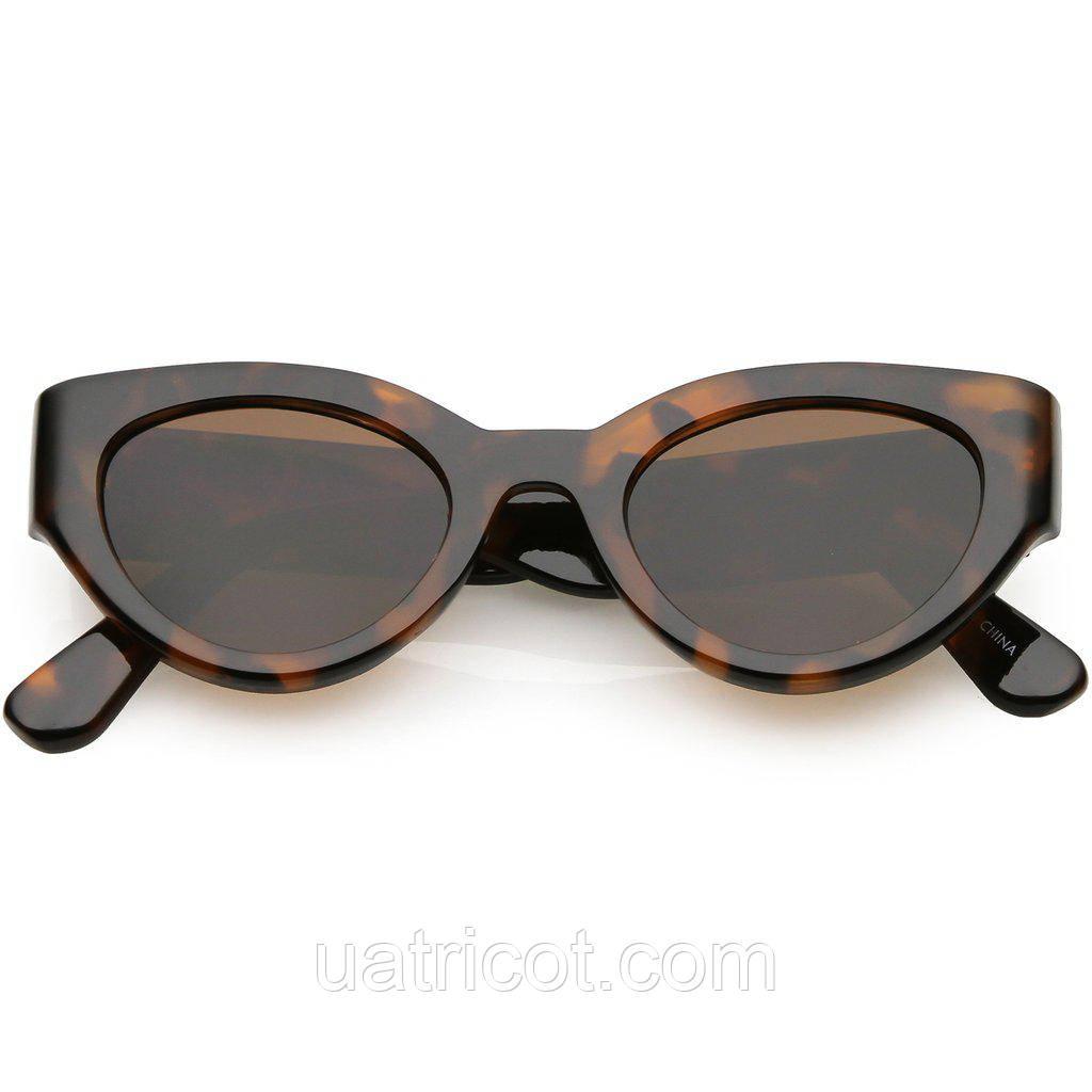 Женские солнцезащитные очки Сat eye в коричневой оправе с коричневыми линзами