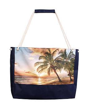 Пляжная сумка Закат и пальмы синяя