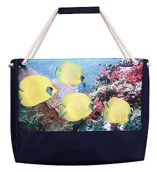 Пляжная сумка Желтые рыбки синяя