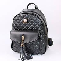 Рюкзак из экокожи женский стеганый с кисточками (черный), фото 1