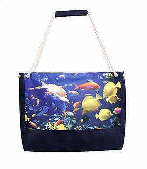 Пляжная сумка Подводный мир синяя