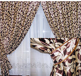 Комплект готовых штор  блэкаут, двусторонний. Цвет коричневый  044ш (А) 1м.