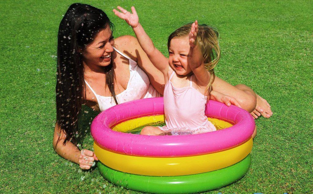 Дитячий надувний басейн Intex Веселка 61х22см м'яке дно (57107)