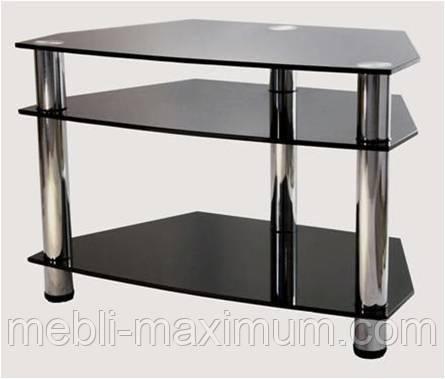 """Тумба ТВ Maxi D 800 """"черный"""" стекло, хром"""