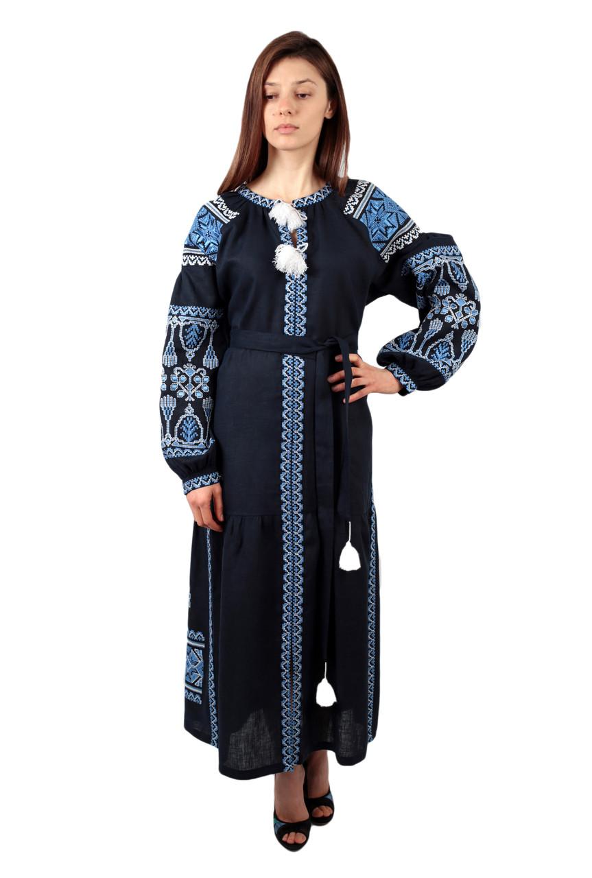 595e70cfaad126 Вишите лляне довге синє плаття з машинною вишивкою: продажа, цена в ...