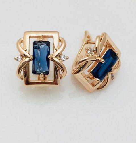 Серьги Fallon Квадрат синие позолота 18К