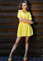 Платье рубашка желтое