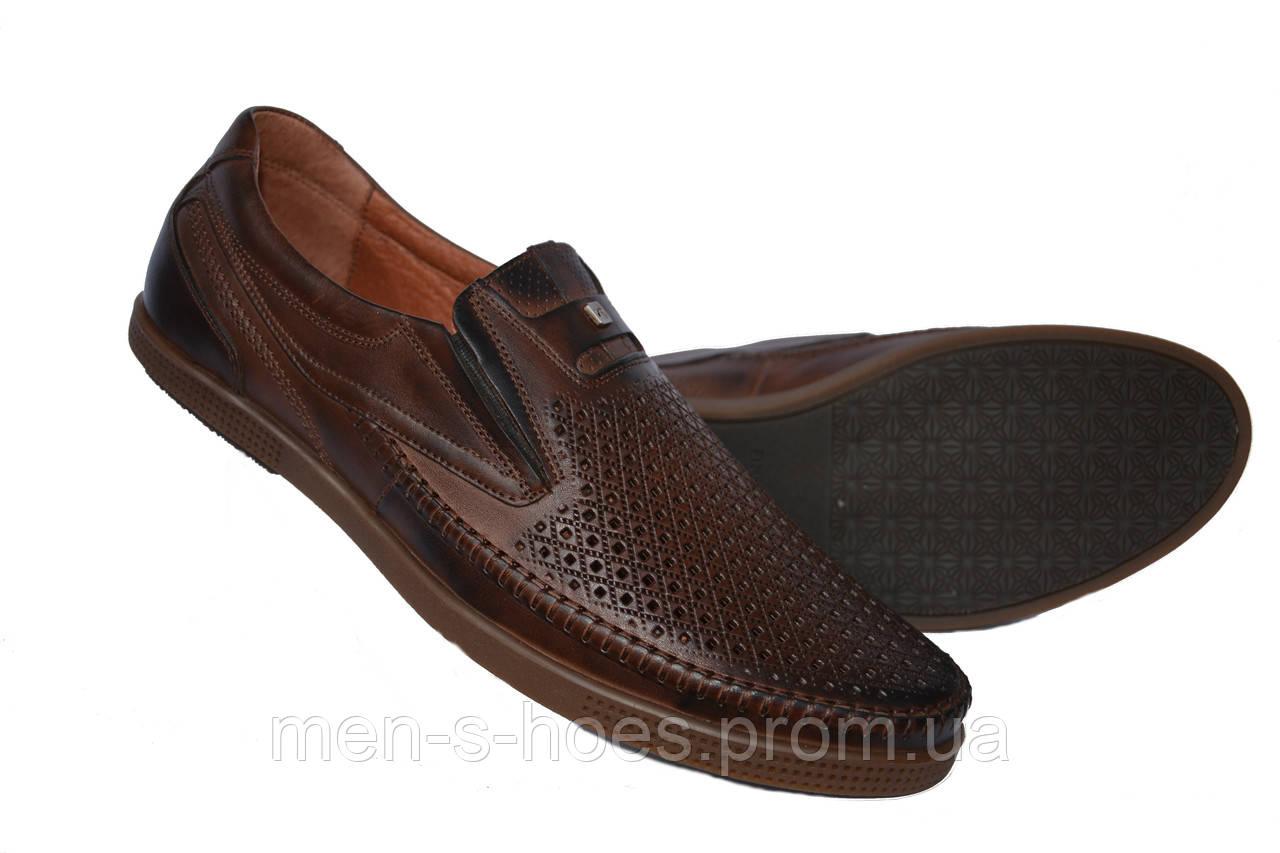 Мужские туфли летние кожаные Vivaro Brown