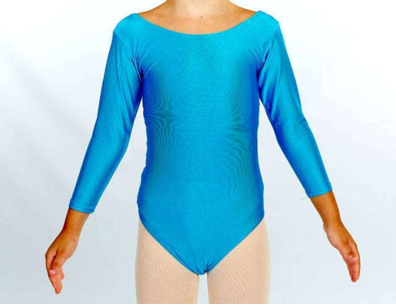 Купальник для художественной гимнастики голубой М (30-32)