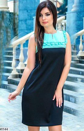 Летнее платье выше колен полу приталенное кружева ментоловое, фото 2