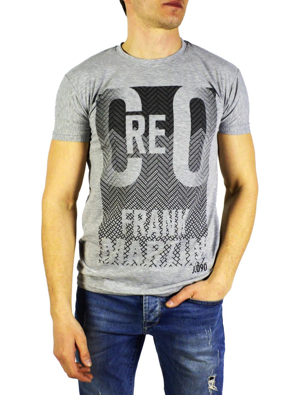 Серая мужская футболка с рисунком FRANK MARTIN на лето
